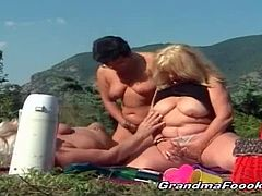 Grandma Fooki brings you a hell of a free porn video where you can see how three horny matures start a hot outdoor threesome. These blonde and brunette sluts wanna be bad!