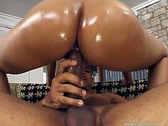 Get a hard dick by watching this ebony babe, with a nice ass and natural boobs, while she goes hardcore and moans like a wild animal.