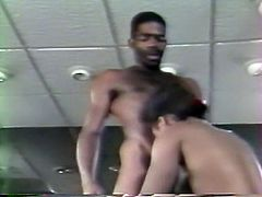 Whorish ebony wifey lied on kitchen table with legs spread part and got presented pretty tough cunnilingus from her brutal hubby. Look at that hot sex at kitchen in The Classic Porn sex video!