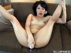 Sizzling Japanese chick Miku Sunohara has her own way to earn money. She masturbates her pussy in front of many men. She seems to love her job!