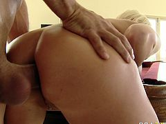 Her juicy ass and pussy are waiting for your attention. Dude inserts big finger in her anal hole and licks her sweet looking muff at the same time.