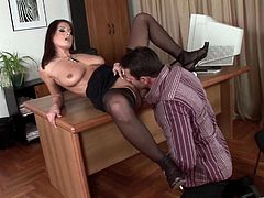 Stunning fire kissed seductress stands on her knees and blows two meaty cocks. This puss also does anal riding thick dick in a reverse cowgirl pose and gets double penetrated until buddies cum on her boobs.