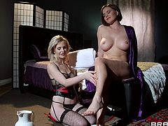 Make sure you have a look at this passionate lesbian scene where these smoking hot ladies make you pop a boner as they please each other in sensual lingerie.