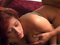 This fucking hot busty chick gives her head like professional whore. She sends shaft deep in her throat and dreams of messy facial but dude wants to drill her big ass.