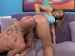 Amazing blonde milf Brianna Beach pleases a guy with a blowjob and a handjob. Then she lies down on a sofa and gets her cunt fucked doggy style.