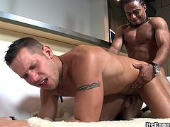 Take a look at this gay scene where this guy sucks on Castro's big black cock before his tight asshole is pierced by it.