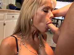 Buxom light-haired skank has mutual oral sex with younger fucker and rides his dick in a cowgirl pose. Then she gets rammed doggystyle and mish until guy cums in her mouth.