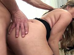 This scorching mature temptress in sexy black stockings just loves to fuck, and doggy is one of her favorite sex positions.