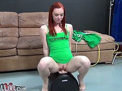 Naughty redhead Dani Jensen rides sybian machine like a true cowgirl
