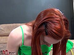 This scorching redhead with small breasts is well aware of the powerful orgasms the sybian machine produces. What a slut!