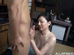 Gorgeous Japanese amateur MILF gives this guy an amazing blowjob and gets her sexy hairy pussy fucked hardcore doggystyle.