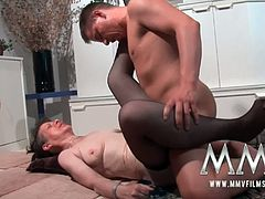 MMV Films brings you a hell of a free porn video where you can see how this kinky mature brunette in stockings enjoys a young cock til she reaches a massive orgasm.