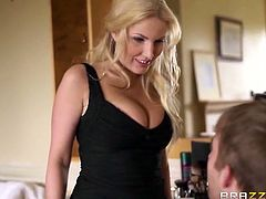 Stunning blonde MILF Georgie Lyall is ready for some hardcore banging in front of the mirror. After she blowed his meaty cock she took it deep inside her twat.