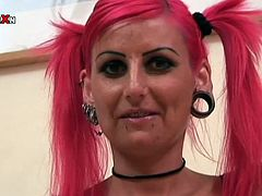 Pink haired freak with pierced mouth Bianca is an ugly one. She's all alone lies on couch fisting her meaty shaved cunt. Check out how skinny slut plays with her twat.