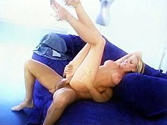 Slim blonde cutie Nicole Sheridan is having fun with a horny man in a studio. She shows her titjob skills to the stud and lets him fuck her smooth pussy in the missionary position and doggy style.