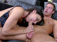 Jessica Jaymes is a nice looking slender milf with round tits. This dangerously sexy woman pays for very expensive car repair with her tight pussy. Repair guy drills milfs smooth snatch eagerly!