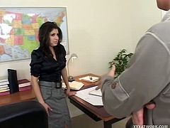 Voluptuous cute babe loves flirting with teasing especially to her bosses. She got what she want on one of her boss, service of hot wet blowjob and getting her pussy blasted with huge dick.