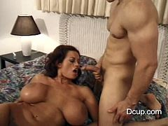 Touch yourself as you watch this brunette pornstar, with gigantic fake jugs wearing shorts, while she gets banged hard and moans like a real pornstar.