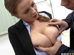 Have fun with this amazing hardcore scene where the busty Candy Alexa is nailed by her professor after this sexy hottie titty fucks his large cock.