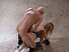 See the lovely and perverse blonde temptress Emma Heart getting her pussy banged balls deep into kingdom come in this amazing video. She loves fucking on the floor!
