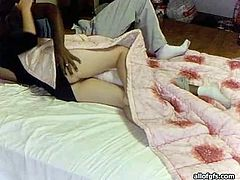 Shapely Korean lady with black hair and gorgeous ass gets naughty with black guy in bed. Asian babe gives him a lap dance and then gets her tasty narrow cunt licked.