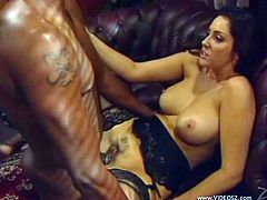 A cougar with long, dark hair, big tits and a hot ass gives her boyfriend a mind-blowing blowjob. Hear him moan with pleasure right now!