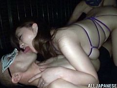 Take a look at this hardcore scene where the sexy Miyuki Matsush has her great ass and big natural breasts played with by these guys before fucking her.