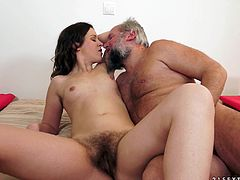 Make sure you have a look at this hardcore scene where this sexy brunette is eaten out by this old man before being fucked.