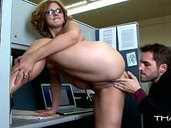 Horny blond haired babe with nice ass squats to give great a blowjob. Have a look at this chick in steamy Thagson xxx clip.