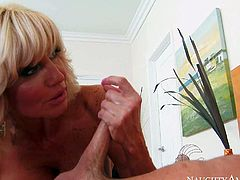 Cougar Tara Holiday shows up in the guest room and shows her big fake tits to her sons buddy Seth Gamble, She turns him on to the point of no return and then gets her milf pussy boned.