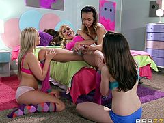 Alina Li and Carmen Caliente are having lesbian fun indoors. A bit later, Johnny Sins comes up to the girls and offers them to suck and ride his dick.