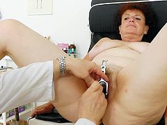 Marsa's hairy twat sure needs a good stimulation by horny doc during nasty gyno exam