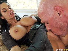 Mind blowing busty brunette sucks large cock and gets her cunny polished. Then she gets banged doggystyle and rides that pecker in a reverse cowgirl pose before getting screwed mish.