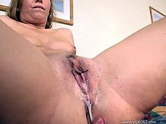 This nasty ass fuckin' whore sucks on a hard ass cock and takes it balls deep into her fuckin' snatch, check it out right here, it's hot!