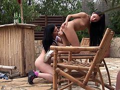 The sexy Sasha Rose and her hot friend get really horny outside when they start licking their sweet pussies and their tight little buttholes.