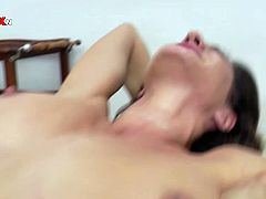Charming dark haired babe with curvy body bends over displaying her delicious booty. Kinky blonde babe doesn't waste the time, she mercilessly bangs brunette's flexible pussy with her fist.
