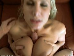 Hot like fire kinky blondie provided her ever thirsting man with solid tit fuck and deep throat. Look at those huge boobies in My XXX Pass porn video!