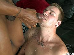 Be part of this clip where a black dude, with a nice ass and a immense cock, has interracial sex with a gay boy after getting a blowjob.