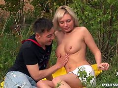 Luscious blonde teen with perky tits gets horny at the picnic. So she gives head to her BF before getting nailed in a missionary position.