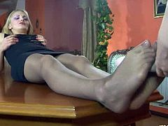 Two hot lesbian girls Crystal and Fiona A wears nylon pantyhose then toying around using their huge strapon. Watch the two smiling and moaning with pleasure.