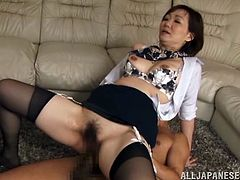 Voracious oriental strumpet stands on her knees and sucks two hard cocks. Afterwards she gets her asshole screwed doggystyle and does anal riding thick dick in a reverse cowgirl pose. Afterwards buddy impales her anus mish.