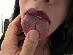 Mind blowing hungry bitch in sexy crotchless panties posed on knees and got to slide her ugly split tongue over hot blooded penis of her freak. Look at that hard BJ in Fame Digital porn video!