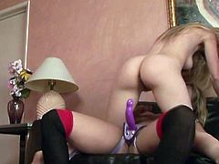 Kinky and hot light haired bitch gets her dripping pussy fucked riding a strapon in cowgirl pose. Have a look at this bitch in All Porn Sites Pass xxx clip.