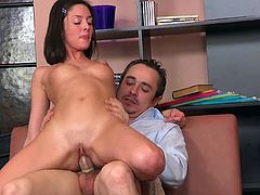 Sleazy and horny for his stiff dong, petite Alyona starts fucking her teacher in a harsh porn encounter