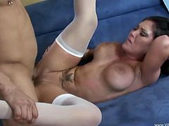Slutty milf Claire Dames, wearing stockings, gives a hot deepthroat blowjob to a man. Then they have anal sex in the cowgirl and other positions and Claire moans crazily with pleasure.