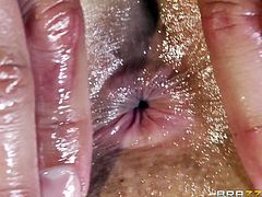 Lusty light-haired angel gets her perfect body smeared with oil before dude hammers her twat mish and doggystyle. Then she rides his prick on top and gets a load of sperm in her mouth.