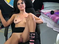 This brunette radiates confidence in her own power of seduction. She finds a dildo that suits her needs and starts her wild masturbation session right in front of her horny lover.