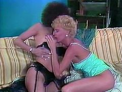 Light and curly haired bitch attacked sweet kitty of her black haired voracious kooky in black stockings and licked it with great passion. Have a look at that steamy lesbo sex in The Classic Porn sex clip!