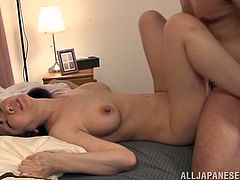 A Japanese MILF gets her juicy boobs and a bald pussy licked. Then Shiori Ihara opens her legs and gets fucked in a missionary pose.