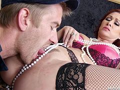 The amazingly sexy redhead Tiffany Mynx wears her sexy stockings while she gets her tight little asshole completely rammed by Danny D.